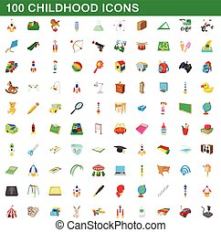 100 childhood icons set, cartoon style