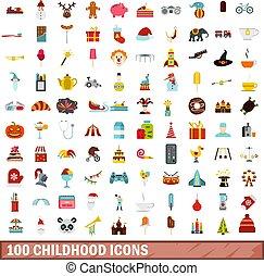 100 childhood icons set, flat style