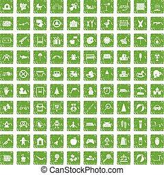 100 childhood icons set grunge green