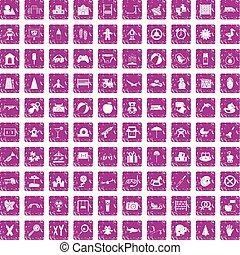 100 childhood icons set grunge pink