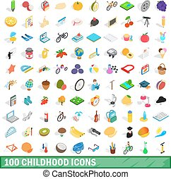 100 childhood icons set, isometric 3d style