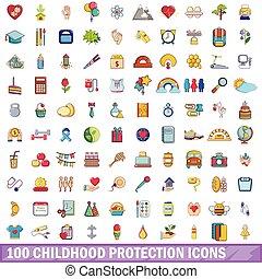 100 childhood protection icons set, cartoon style