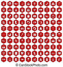 100 children icons hexagon red