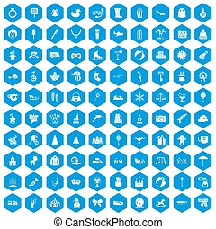 100 children icons set blue