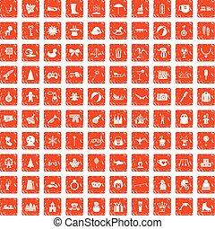 100 children icons set grunge orange