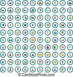 100 childrens park icons set, cartoon style