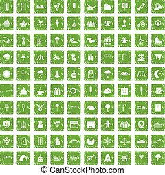 100 childrens parties icons set grunge green