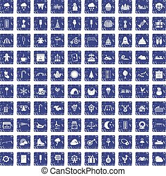 100 childrens parties icons set grunge sapphire