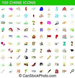 100 chine icons set, cartoon style