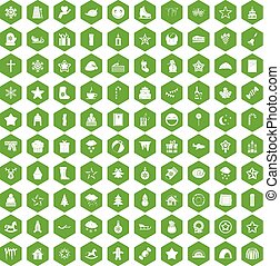 100 christmas icons hexagon green