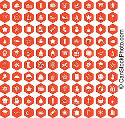 100 christmas icons hexagon orange