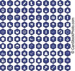 100 christmas icons hexagon purple