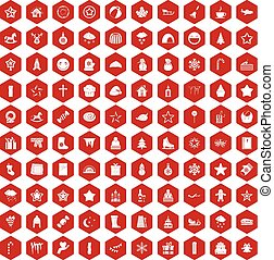 100 christmas icons hexagon red