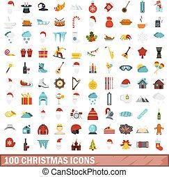 100 christmas icons set, flat style