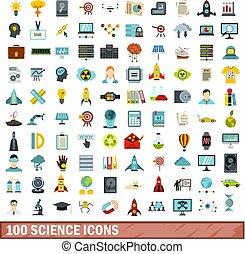 100, ciência, ícones, jogo, apartamento, estilo