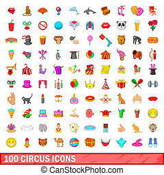 100 circus icons set, cartoon style