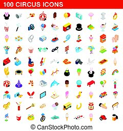 100 circus icons set, isometric 3d style