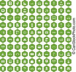 100 city icons hexagon green