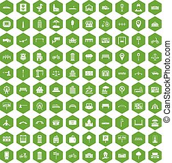 100 city icons hexagon green