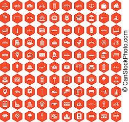 100 city icons hexagon orange