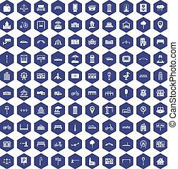 100 city icons hexagon purple