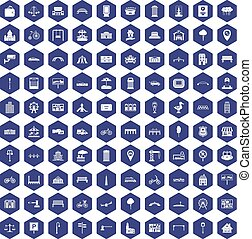 100 city icons hexagon purple