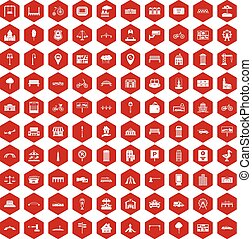 100 city icons hexagon red