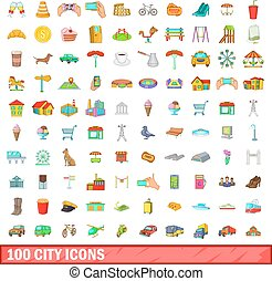 100 city icons set, cartoon style