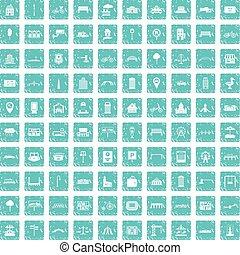 100 city icons set grunge blue