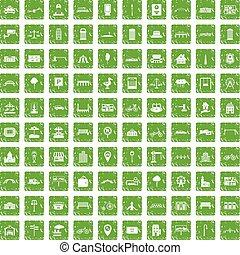 100 city icons set grunge green