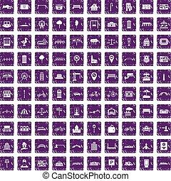 100 city icons set grunge purple