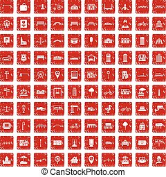 100 city icons set grunge red
