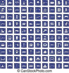100 city icons set grunge sapphire