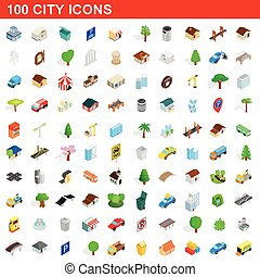100 city icons set, isometric 3d style