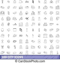 100 city icons set, outline style