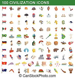 100 civilization icons set, cartoon style