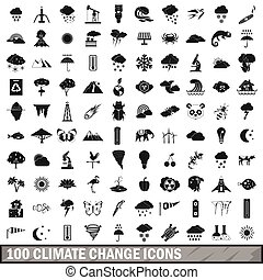 100 climate change icons set, simple style
