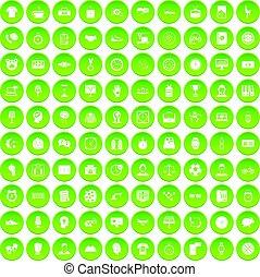 100 clock icons set green circle