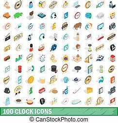 100 clock icons set, isometric 3d style