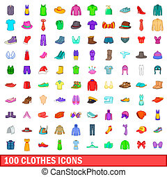 100 clothes icons set, cartoon style