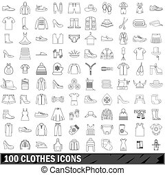 100 clothes icons set, outline style