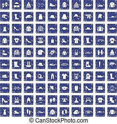 100 clothing and accessories icons set grunge sapphire - 100...