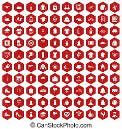 100 clothing icons hexagon red