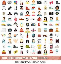 100 clothing magazine icons set, flat style - 100 clothing...
