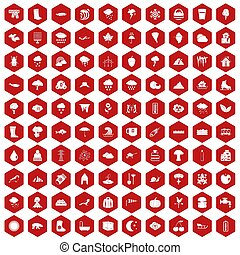 100 clouds icons hexagon red