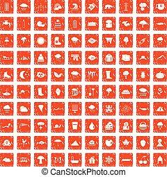 100 clouds icons set grunge orange