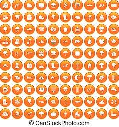 100 clouds icons set orange