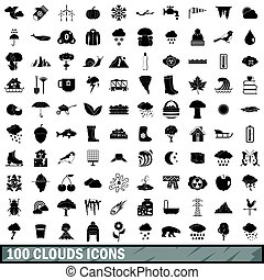 100 clouds icons set, simple style