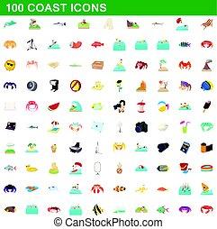100 coast icons set, cartoon style