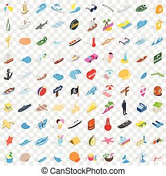 100 coast icons set, isometric 3d style - 100 coast icons...